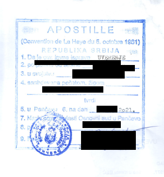 Vypis z registra trestov zo srbska - apostila